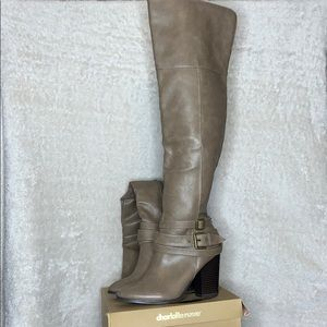 Charlotte Russe thigh high taupe boots.